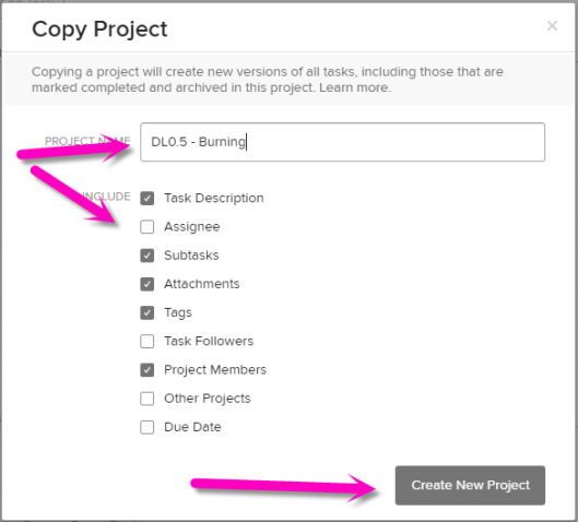 create new project copy